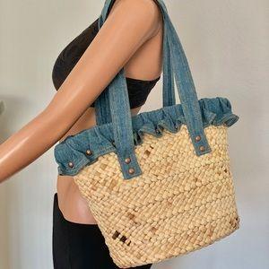 Ralph Lauren Straw Denim Bag Tote Studs Designer